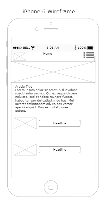 iPhone 12 Wireframe Template