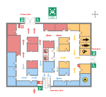 Three Exits Evacuation Floor Plan