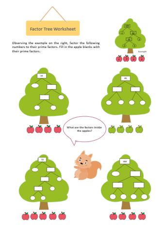 Factor Tree Worksheet Cartoon