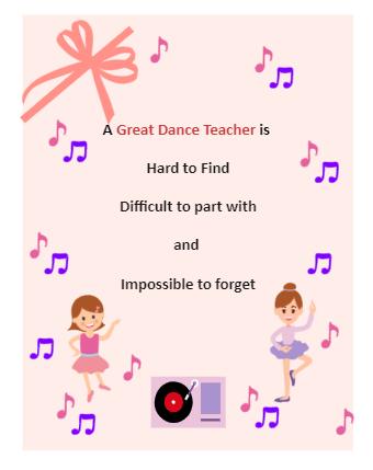 Dance Teacher Card