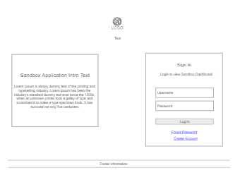 Sandbox Application Wireframe