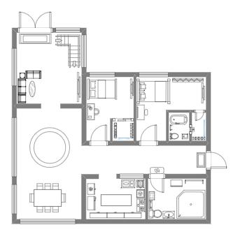 The Flat Floor Plan for First Floor
