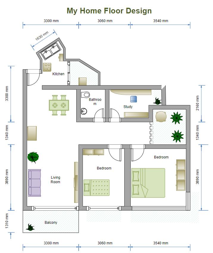 Floor Plan with 2 Bedrooms
