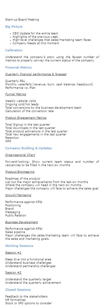 Start Up Board Meeting Agenda