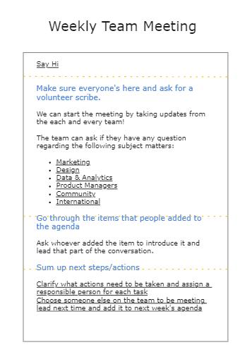 Weekly Team Meeting Agenda