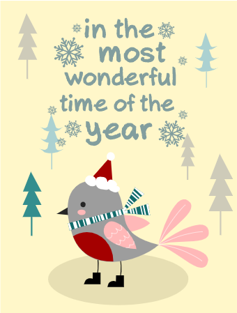 Christmas Card with Cute Bird