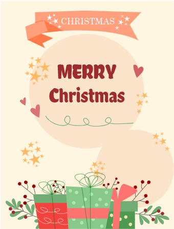 Christmas Greeting Card with Giftbox
