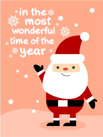Christmas Card With Cute Santa