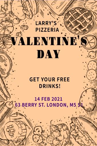 Valentine's Day Cafe Menu Flyer