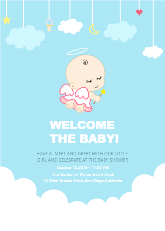 Angel Baby Shower Invitation