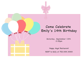 Balloon Birthday Invitation Card