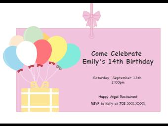 Balloon Birthday Invitation Card