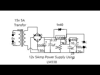12V 5Amp Power Supply Circuit