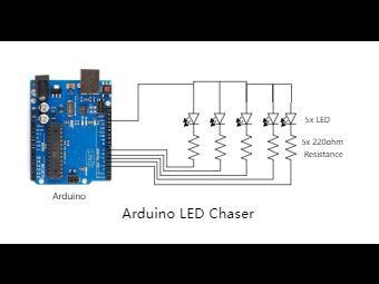 Arduino LED Chaser Circuit Diagram